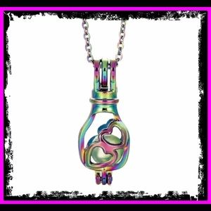 🆕🌈 Rainbow Heart Pearl Cage Oil Defuser Necklace